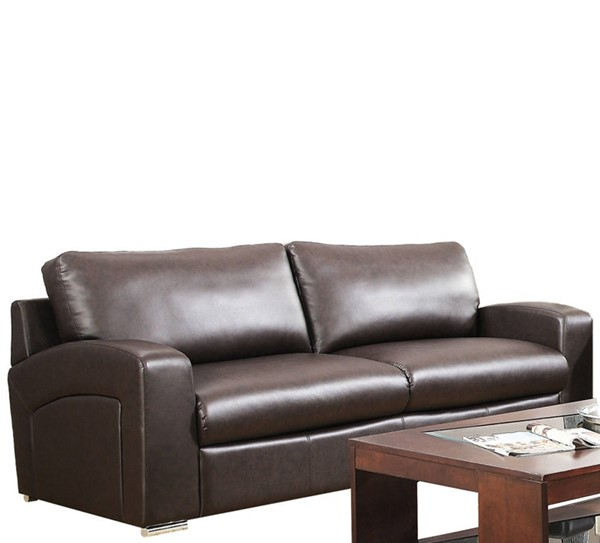 Monarch Specialties Brown Bonded Leather Cushion Back Sofa MNC-I-8503BR