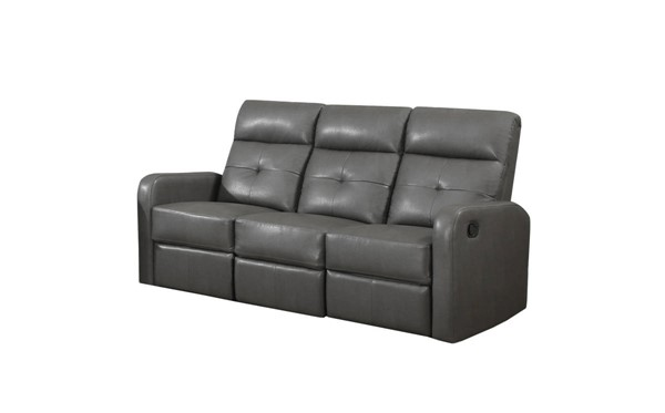 Monarch Specialties Grey Bonded Leather Tufted Back Reclining Sofa MNC-I-85GY-3