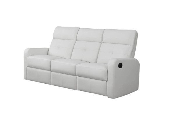 Monarch Specialties White Bonded Leather Tufted Back Reclining Sofa MNC-I-85WH-3