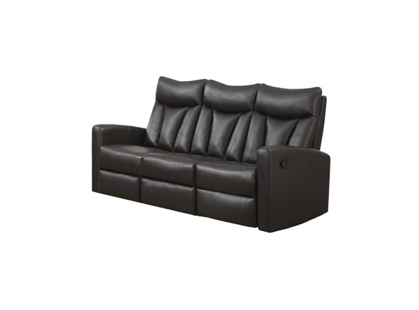 Monarch Specialties Brown Bonded Leather Cushion Back Reclining Sofa MNC-I-87BR-3