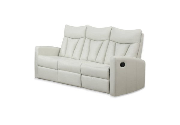 Monarch Specialties Ivory Bonded Leather Cushion Back Reclining Sofa MNC-I-87IV-3