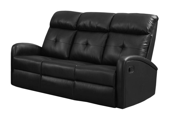 Monarch Specialties Black Tufted Back Reclining Sofa MNC-I-88BK-3