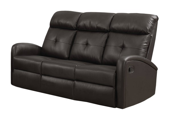 Monarch Specialties Brown Tufted Back Reclining Sofa MNC-I-88BR-3
