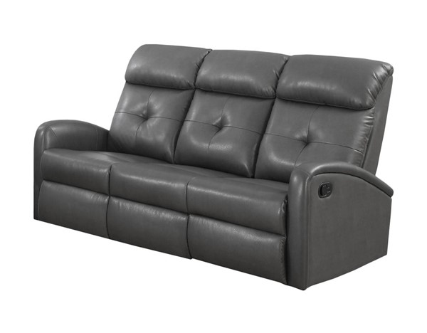 Monarch Specialties Grey Tufted Back Reclining Sofa MNC-I-88GY-3