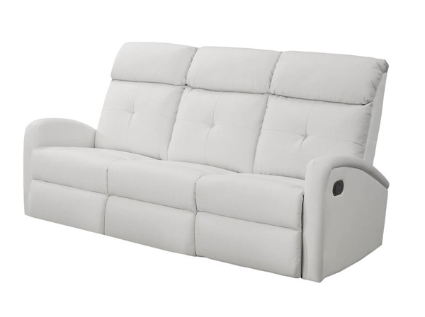 Monarch Specialties White Tufted Back Reclining Sofa MNC-I-88WH-3