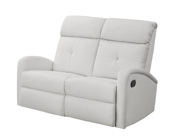 Monarch Specialties White Tufted Back Reclining Loveseat