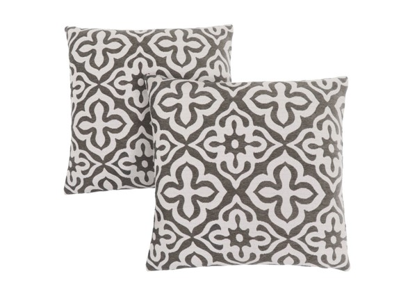 2 Monarch Specialties Taupe Motif Design Pillows MNC-I-9217