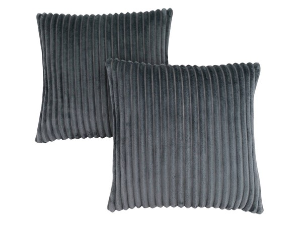 2 Monarch Specialties Grey Ultra Soft Ribbed Pillows MNC-I-9353