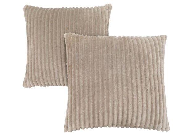 2 Monarch Specialties Beige Ultra Soft Ribbed Pillows MNC-I-9355