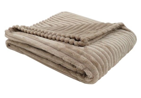 Monarch Specialties Beige Ultra Soft Ribbed Throw MNC-I-9602