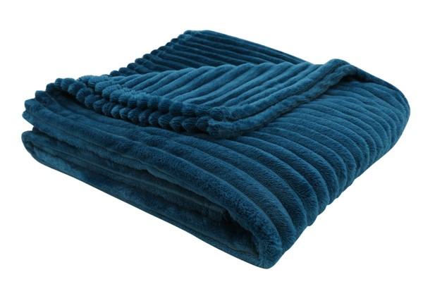 Monarch Specialties Blue Ultra Soft Ribbed Throw MNC-I-9604