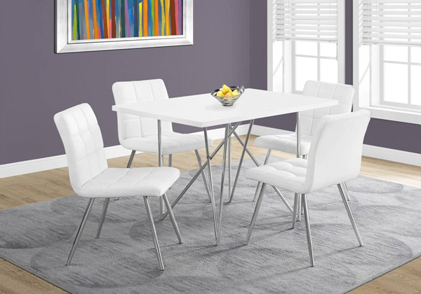 Monarch Specialties White Leather Chrome Metal 5pc Dining