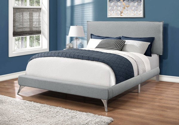 Monarch Specialties Grey Linen Chrome Legs Beds MNC-I-5950-BED-VAR