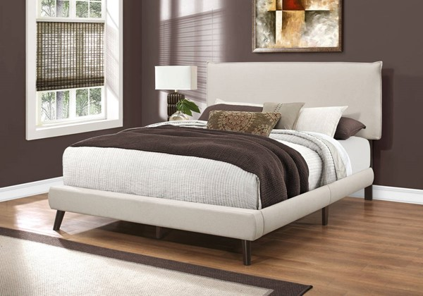 Monarch Specialties Beige Linen Wood Legs Beds MNC-I-5951-BED-VAR