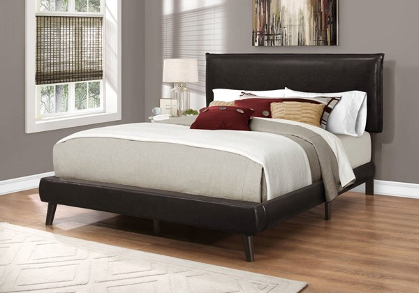 Monarch Specialties Brown Leather Wood Legs Beds MNC-I-5952-BED-VAR
