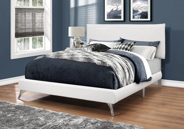 Monarch Specialties White Leather Chrome Legs Beds MNC-I-5953-BED-VAR