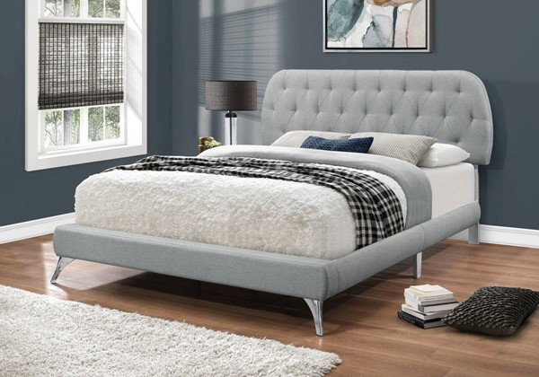 Monarch Specialties Grey Linen Tufted Chrome Legs Beds MNC-I-5980-BED-VAR