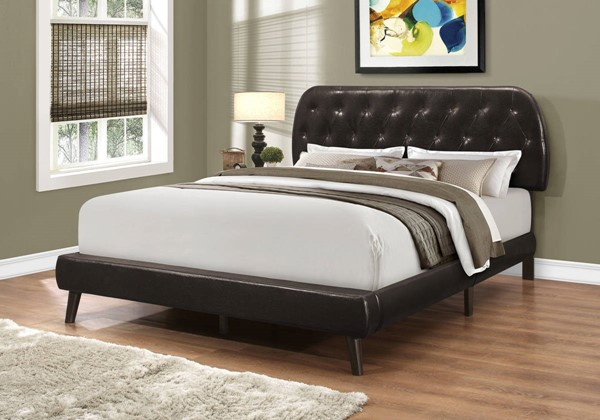 Monarch Specialties Brown Leather Tufted Wood Legs Beds MNC-I-5982-BED-VAR