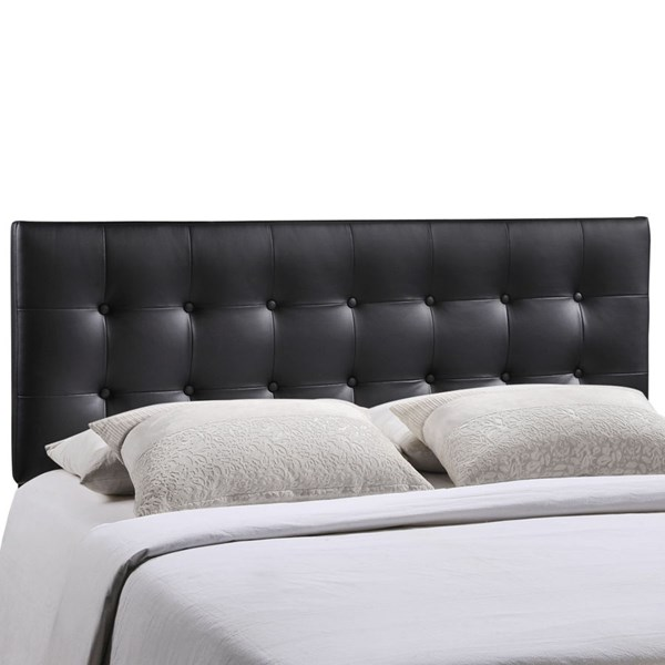Emily Contemporary Black Vinyl Wood Queen Headboards MOD-5171-HDBD-VAR