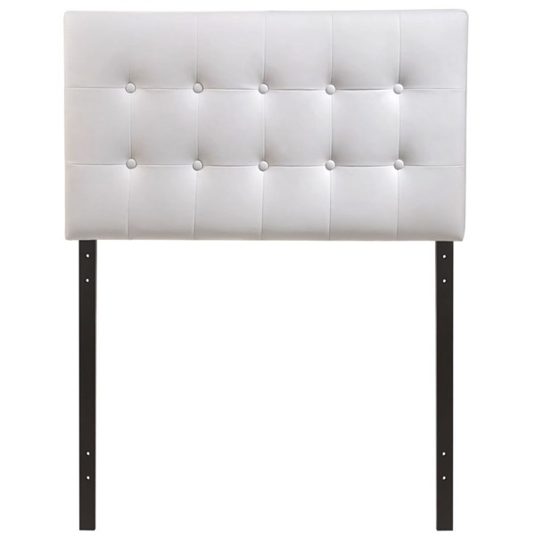Emily Contemporary White Vinyl Wood Twin Headboard MOD-5177-WHI