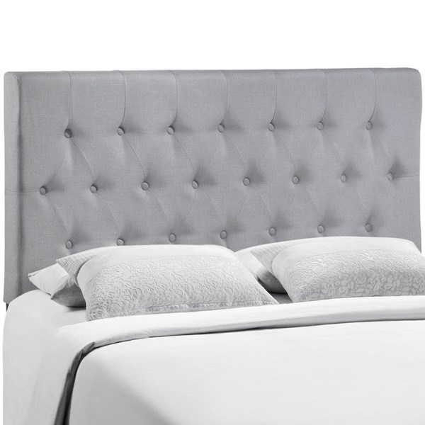 Clique Contemporary Sky Gray Fabric Solid Wood Full Headboard MOD-5204-GRY