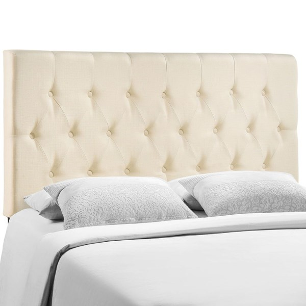 Clique Contemporary Ivory Fabric Solid Wood Full Headboard MOD-5204-IVO