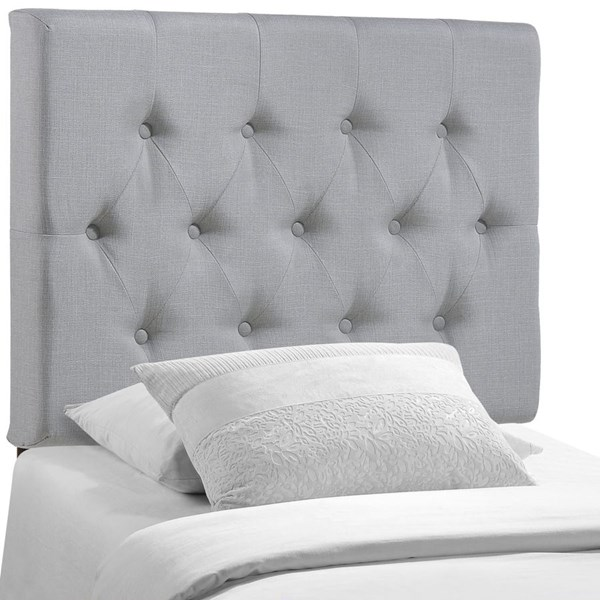 Clique Contemporary Sky Gray Fabric Solid Wood Twin Headboard MOD-5205-GRY