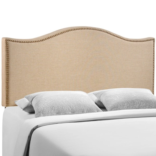 Curl Modern Cafe Fabric Solid Wood Queen Upholstered Headboard MOD-5206-CAF