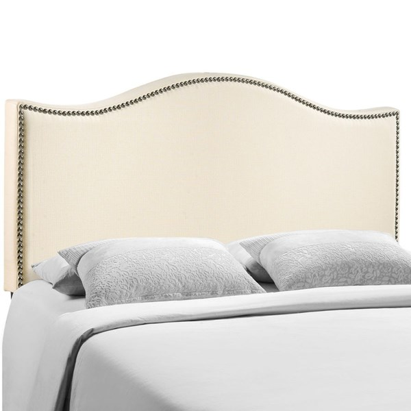 Curl Modern Ivory Fabric Solid Wood Queen Upholstered Headboard MOD-5206-IVO