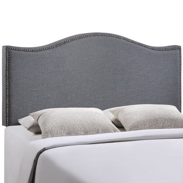 Curl Modern Smoke Fabric Solid Wood Queen Upholstered Headboard MOD-5206-SMK