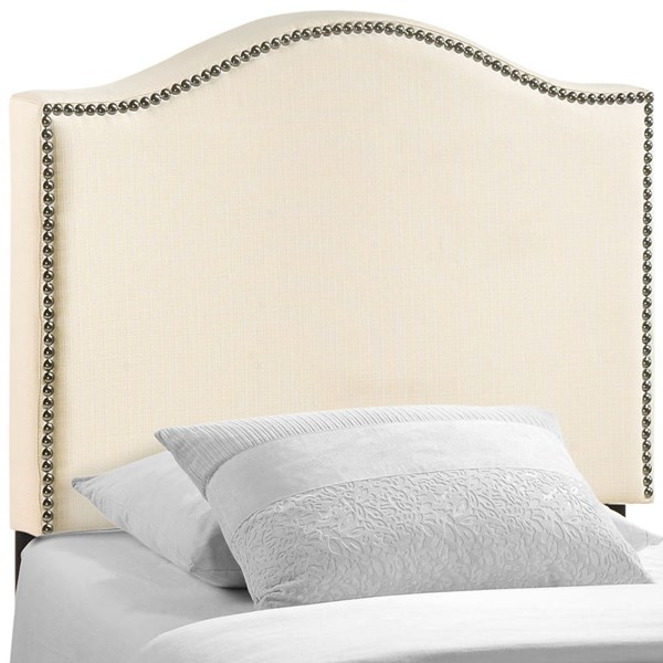 Curl Contemporary Ivory Fabric Solid Wood Twin Upholstered Headboard MOD-5209-IVO