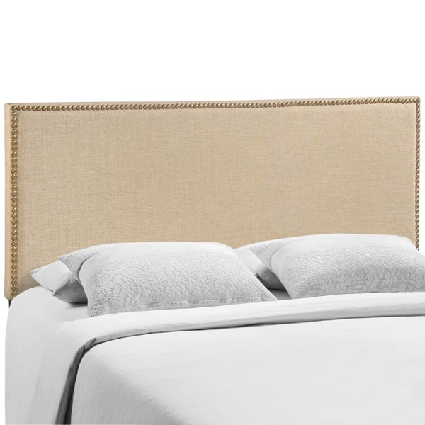 Region Cafe Fabric Solid Wood Queen Nailhead Upholstered Headboard MOD-5215-CAF