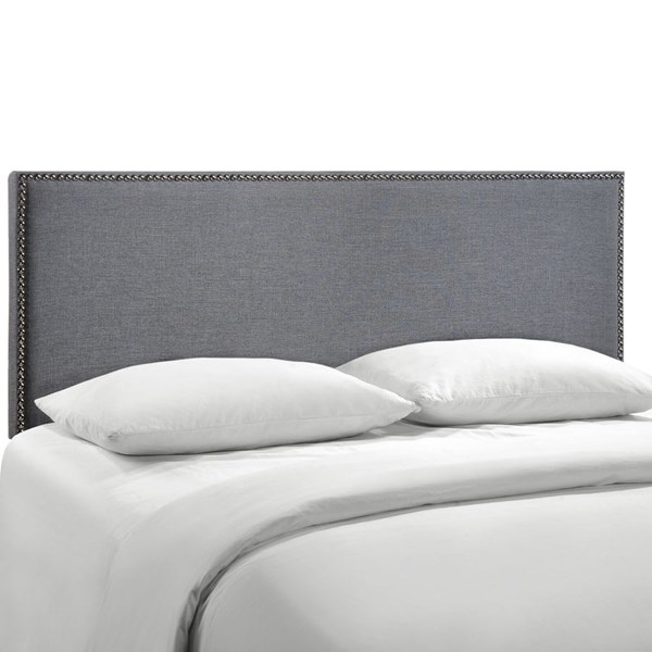 Region Smoke Fabric Wood Queen Nailhead Upholstered Headboard MOD-5215-SMK