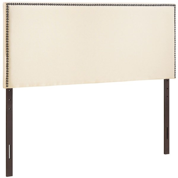 Region Ivory Fabric Solid Wood Full Nailhead Upholstered Headboard MOD-5217-IVO
