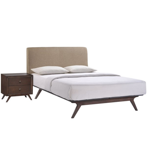 Tracy Modern Cappuccino Latte Wood 2pc Bedroom Set w/Queen Bed MOD-5260-CAP-LAT-SET