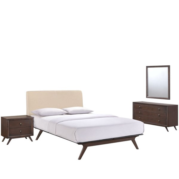 Tracy Modern Cappuccino Beige Wood 4pc Bedroom Set w/Queen Beds MOD-5264-CAP-VAR