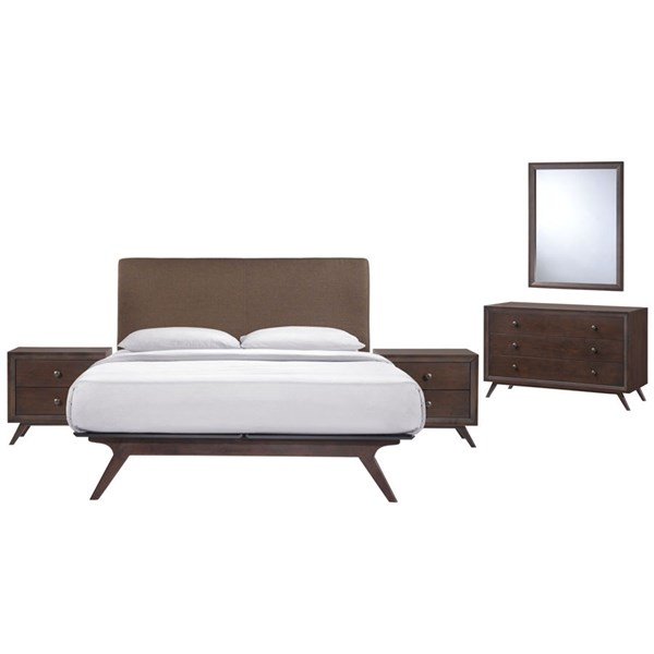 Tracy Modern Cappuccino Brown Wood 5pc Bedroom Set w/Queen Bed MOD-5265-CAP-BRN-SET