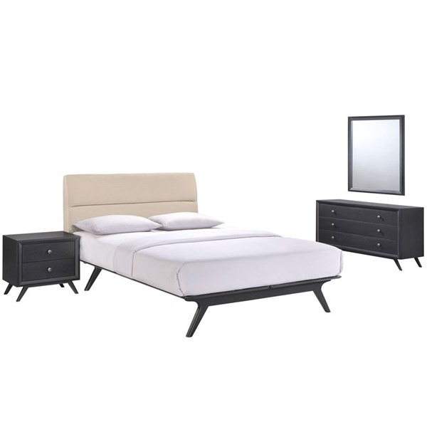 Addison Modern Black Beige Fabric Wood 4pc Bedroom Set w/Queen Bed MOD-5266-BLK-BEI-SET
