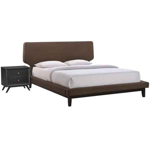 Bethany Contemporary Black Brown Wood 2pc Bedroom Set w/Queen Beds MOD-5333-BLK-VAR