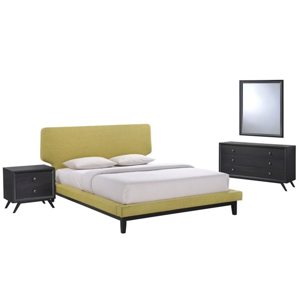 Bethany Contemporary Black Green Wood 4pc Bedroom Set w/Queen Bed MOD-5336-BLK-GRN-SET