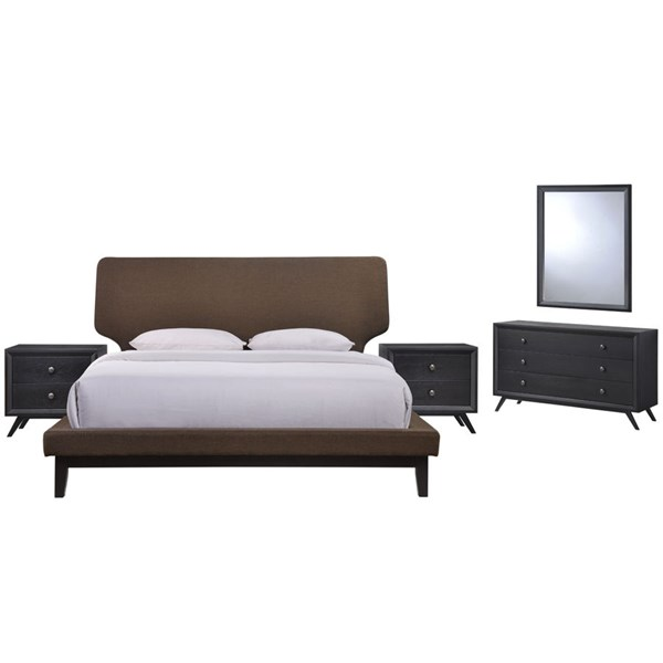 Bethany Contemporary Black Brown Wood 5pc Bedroom Set w/Queen Beds MOD-5337-BLK-VAR