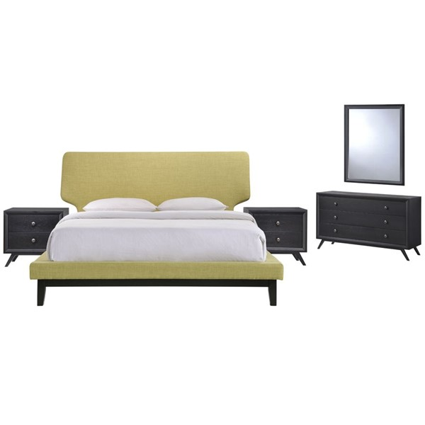 Bethany Contemporary Black Green Wood 5pc Bedroom Set w/Queen Bed MOD-5337-BLK-GRN-SET
