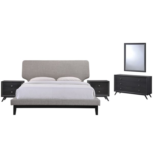 Bethany Contemporary Black Gray Wood 5pc Bedroom Set w/Queen Bed MOD-5337-BLK-GRY-SET