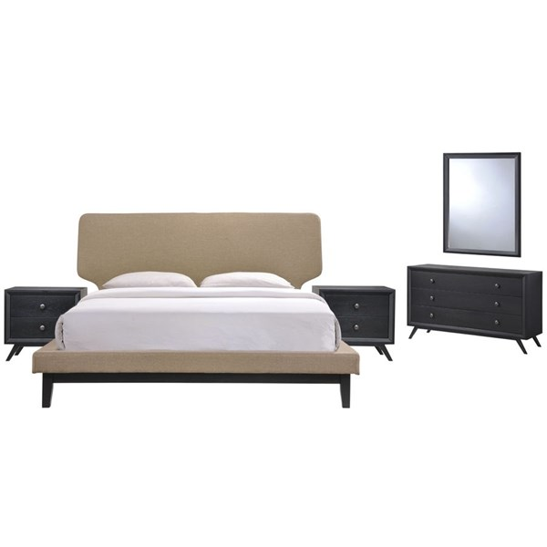 Bethany Contemporary Black Latte Wood 5pc Bedroom Set w/Queen Bed MOD-5337-BLK-LAT-SET