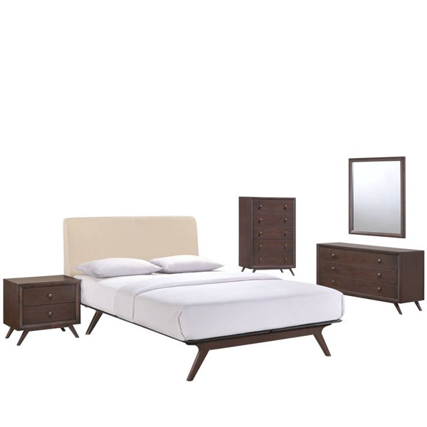 Modway Furniture Tracy Beige 5pc Queen Bedroom Set MOD-5340-CAP-BEI-SET
