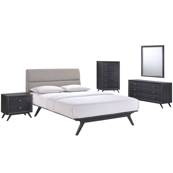 Modway Furniture Addison Black Gray 5pc Queen Bedroom Set MOD-5341-BLK-GRY-SET
