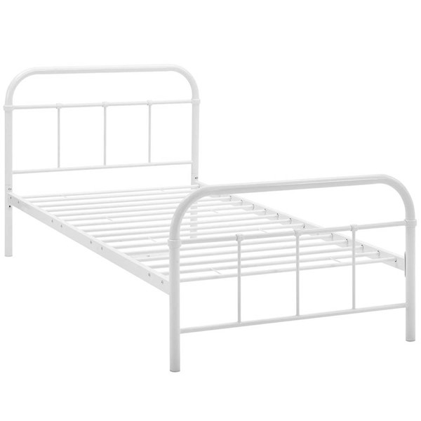 Modway Furniture Maisie White Twin Stainless Steel Bed Frame MOD-5531-WHI-SET