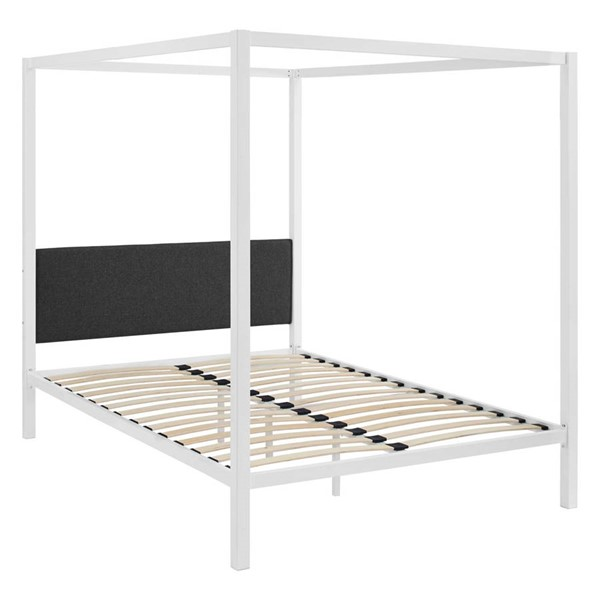 Modway Furniture Raina White Gray Queen Canopy Bed Frame MOD-5570-WHI-GRY