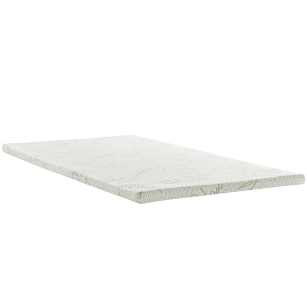 Modway Furniture Relax Twin 2 Inch Gel Memory Foam Mattress Topper MOD-5571-WHI