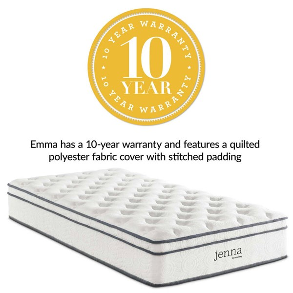 Modway Furniture Jenna White 10 Inch Innerspring Mattresses MOD-5768-MATT-VAR